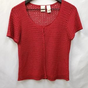 Emma James Deep Red Open Weave Top Sz. M